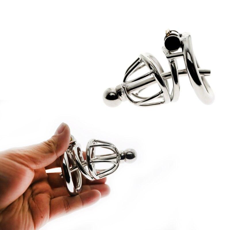 Jaula de castidad de acero inoxidable anillo de pene con catéter uretral dispositivo erótico jaula de bloqueo de pene juguetes sexuales para hombres anillo de pene