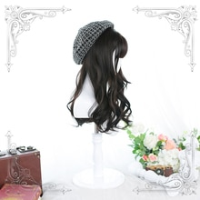 Female Long Wavy Curly Brown-Black And Brown Bangs Wig Women Wigs Lolita Cosplay Party