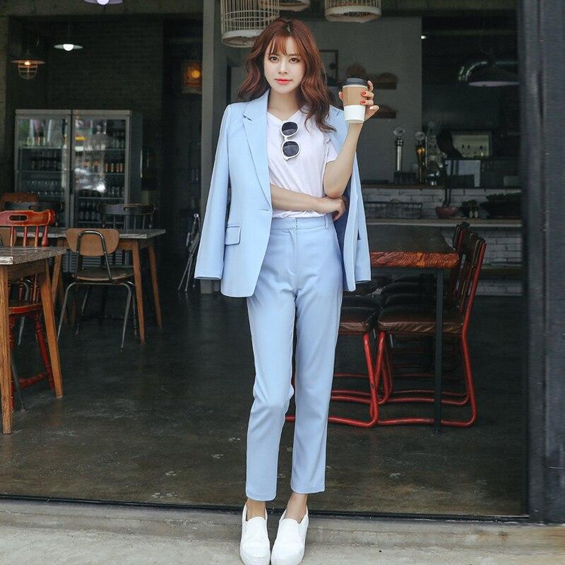 Ternos femininos 2019 outono nova moda coreana temperamento fino pequeno terno feminino jaqueta calças selvagens terno de alta qualidade