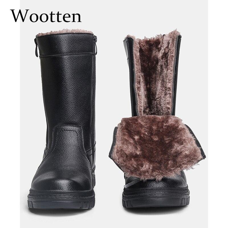 40-45 botas de invierno para hombre, botas de nieve de felpa cálidas, cómodas vintage de alta calidad a la moda, zapatos de invierno para hombre más cálidos