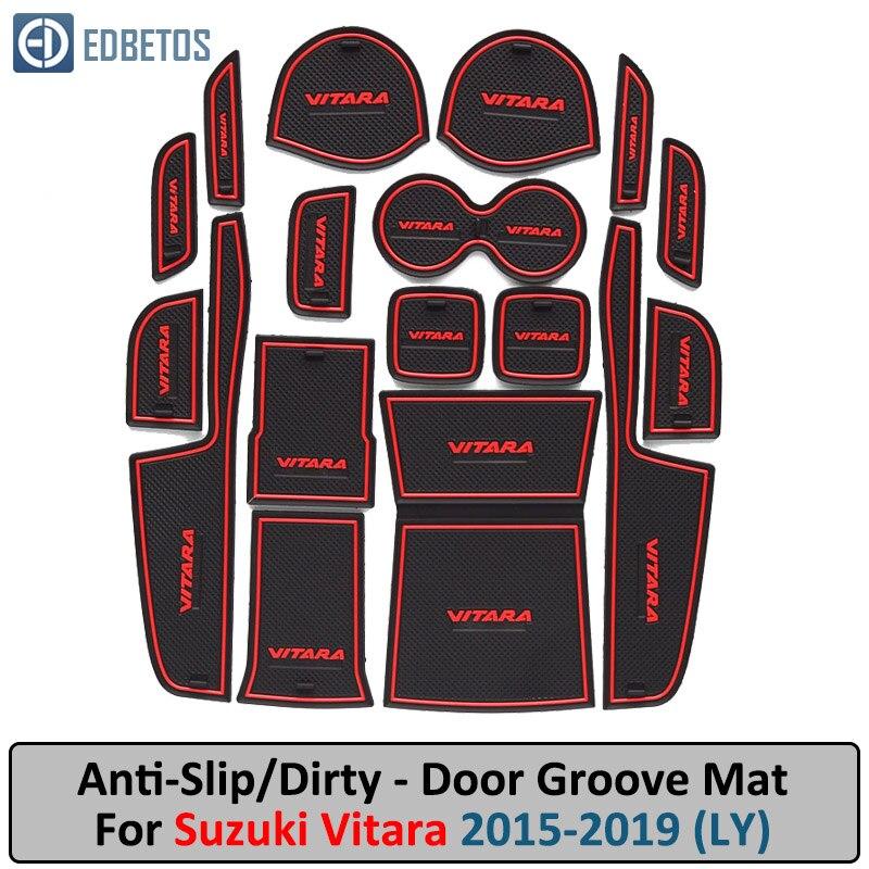 Anti-Slip Mat para Suzuki Vitara 2015, 2016, 2017, 2018, 2019 LY Escudo puerta ranura Montaña Rusa Anti-sucio esteras con surcos para puerta