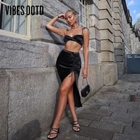 vibesootd satin sexy two piece cami top and skirt set women outfits mathing sets drawstring ruched split high waist skirts