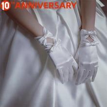 OLLYMURS gants de mariage dentelle noeud blanc gants de Satin courts accessoires de mariage fille de fleur gants blancs