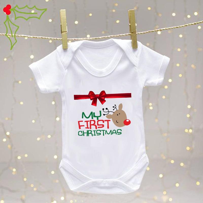 My First Christmas Happy Girl Baby Bodysuit Baby Romper Newborn Boy Soft Streetwear Short Sleeve Autumn Winter Clothes ropa bebe недорого