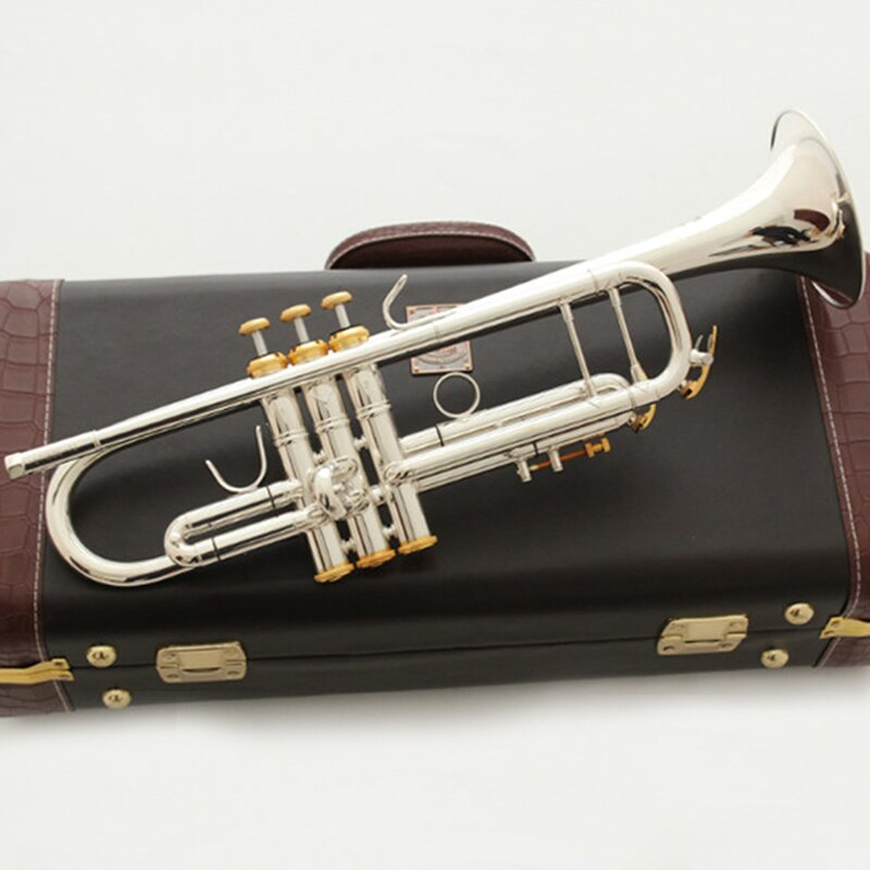 Banhado a Ouro Instrumentos de Música Fancier Clube Trompete Lt197s-100 Prata Chaves Profesional Trompetas 197s100 Case Bocal bb