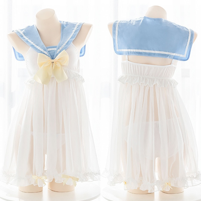 Vestido de noche encantador pequeño fresco de chica joven azul claro con cuello de marinero perspectiva ropa de ocio Sexy dulce vestido de uniforme azo de Lolita