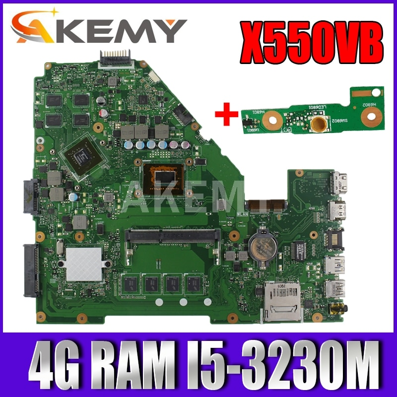 اللوحة الأم للكمبيوتر المحمول Akemy 90NB00R0-R00011 X550VB لجهاز Asus X550CC A550C X550CL R510C X552C اللوحة الرئيسية 4G RAM I5-3230M GT740M