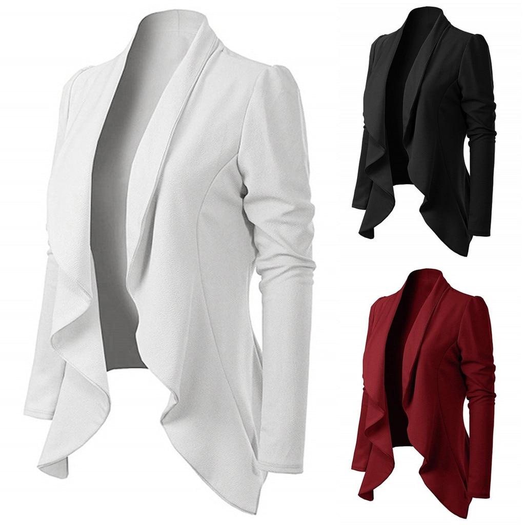 Oficina señora mujeres elegante estilo manga larga cuello vuelto volante manga larga breve Fit chaqueta al por mayor envío gratis Z4