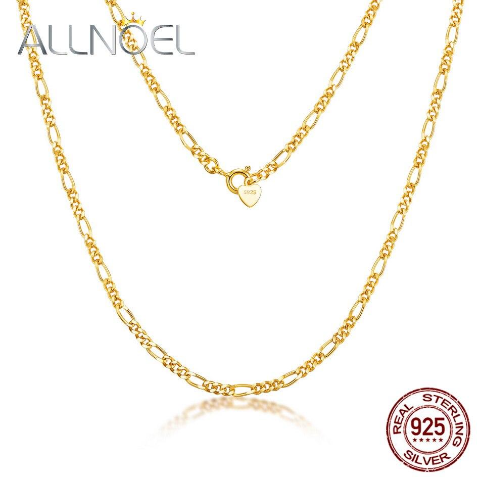 allnoel-модная-цепочка-из-стерлингового-серебра-925-пробы-оптовая-продажа-унисекс-14-к-позолоченная-цепочка-из-Фигаро-450-мм