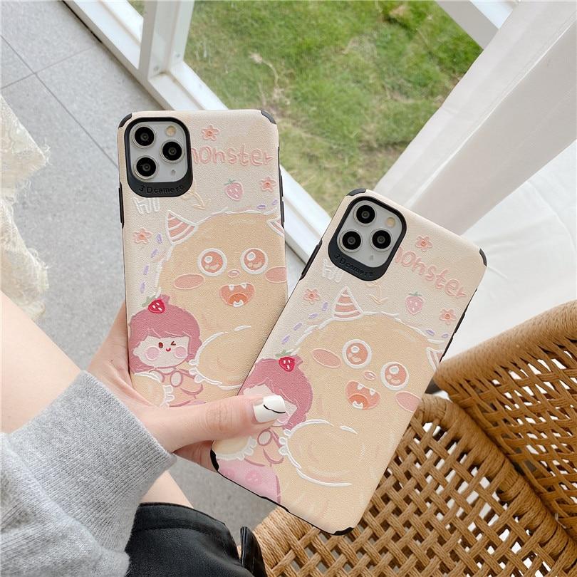 cute Cartoon Silk patt Anti-fall Strawberry girl For iphone 6 6S 7 7plus 8 8Plus iphone X XR 11 pro MAX Case Cover Phone Case