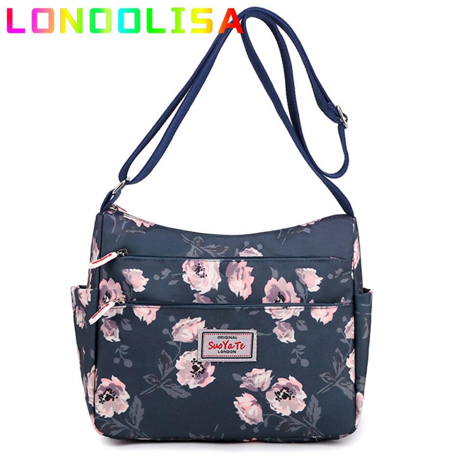 الزهور الإيطالية حقائب اليد سعة كبيرة حقائب السفر عادية 3 طبقات النساء العمل حقائب كتف مقاوم للماء النايلون حقيبة ساع كيس