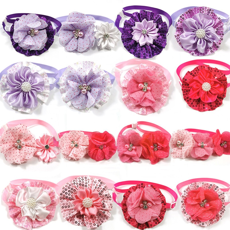 30-50pcs-valentines-day-mix-style-pet-dog-flowers-bowties-with-shiny-rhinestones-pet-neckties-dog-pet-grooming-supplies