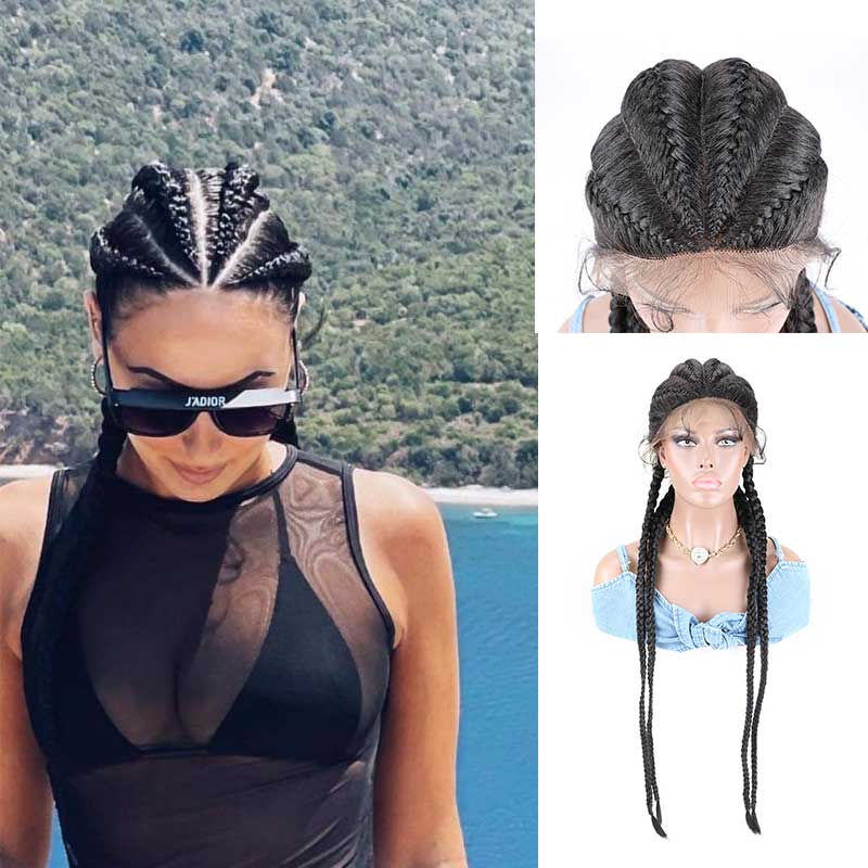 Synthetic Lace Front Wig Braided African For Black Women 32inches Box Braid Natural Dark Burgundy Blonde Wigs Twist wig
