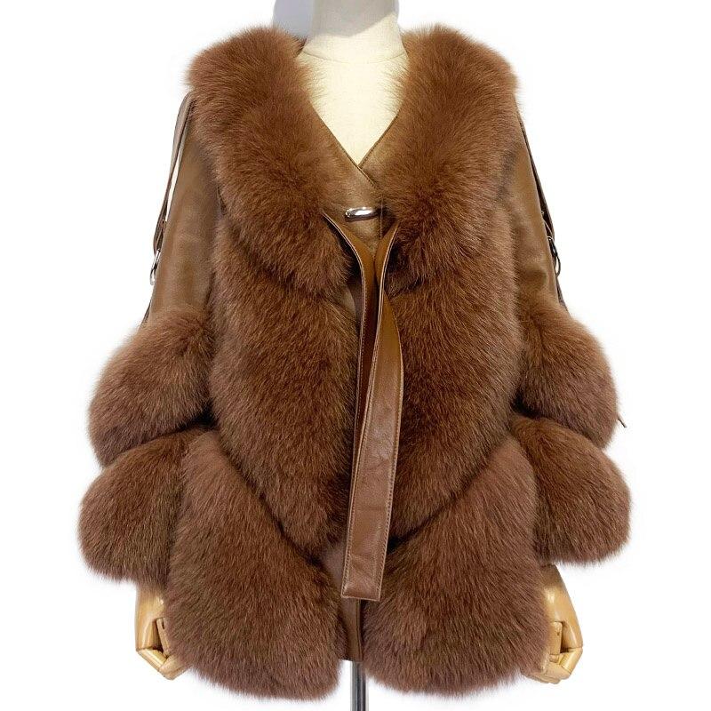 معطف شتوي جديد للسيدات موضة 2021 من SHZQ معطف فرو طبيعي طويل الأكمام للنساء جاكيت ثعلب حقيقي متوسط الطول للخروج