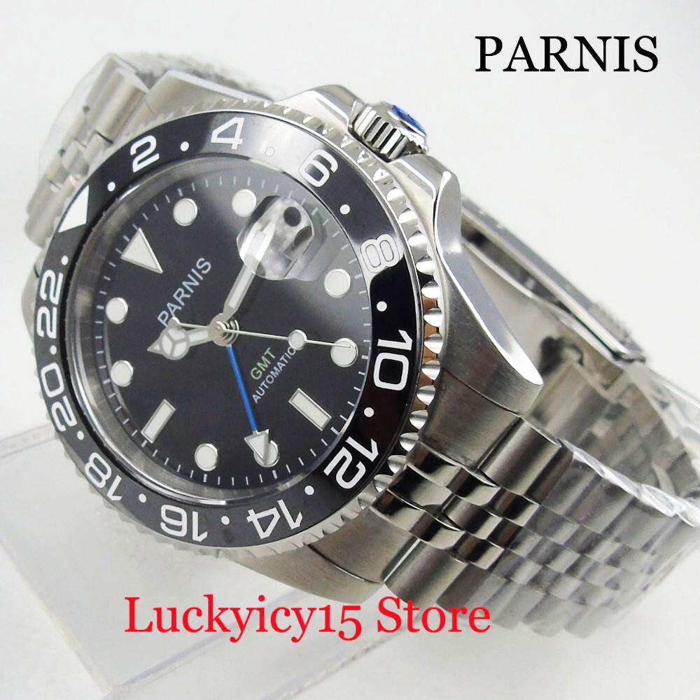 PARNIS función GMT reloj automático de hombre de cuerda automática MINGZHU 3804 movimiento Color plata funda y correa Mental de 20mm de ancho