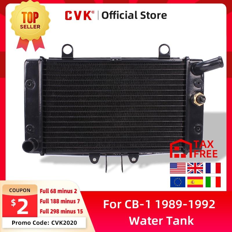 CVK aluminio negro radiador enfriador tanque de agua de refrigeración para HONDA CB-1 CB400F NC27 1989 1990 1991 1992 CB 400F 89 90 91 92 nuevo