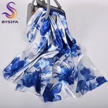 [BYSIFA] Blau Weiß Rosen Frauen Silk Schal Cape 2020 Neue Frühling Satin Lange Schals Wraps Elegante Damen Kopf schal 160*70cm