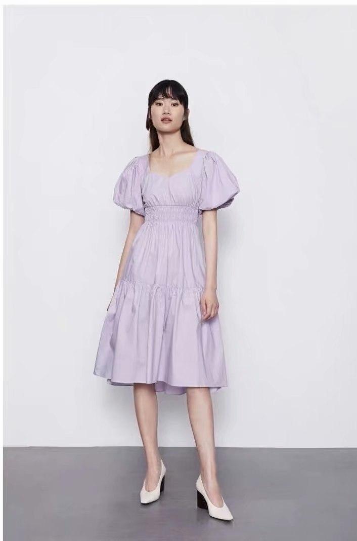 Novedad de verano de primavera 2020, vestido de mujer morado claro zaraing, vestido femenino vadiming sheining, vestido vintage de talla grande A9770