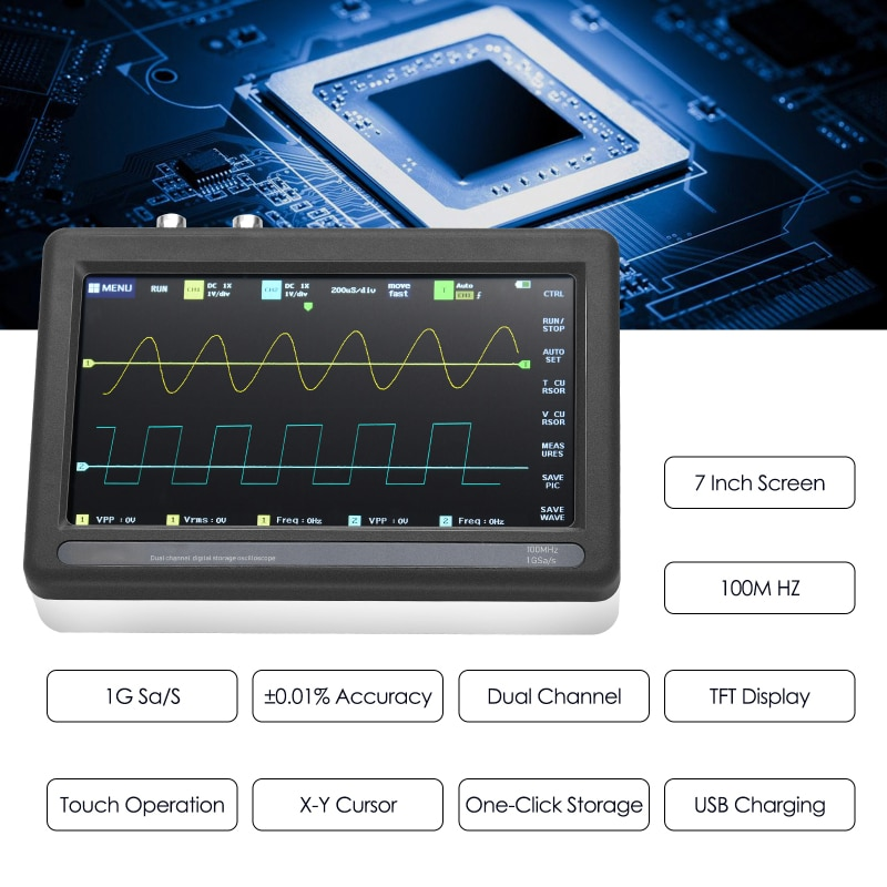 1013D 7-inch 2-channel Digital Storage Oscilloscope With 100MHz Bandwidth And 1GS Sampling Rate enlarge