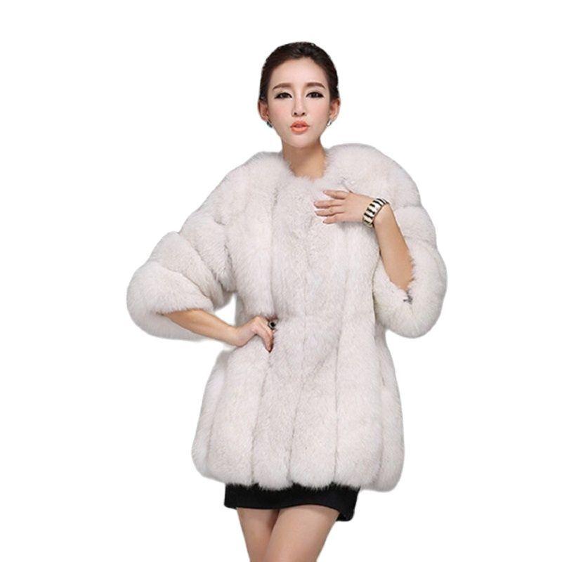 Новое поступление 2021, Женское зимнее теплое модное импортное длинное меховое пальто из искусственного меха высокого качества, пальто из ли...