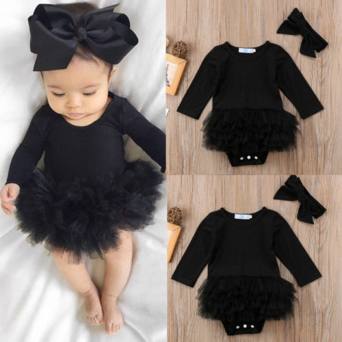 Newborn Baby Girl Romper Jumpsuit Bodysuit Clothes Headband Outfit Sets