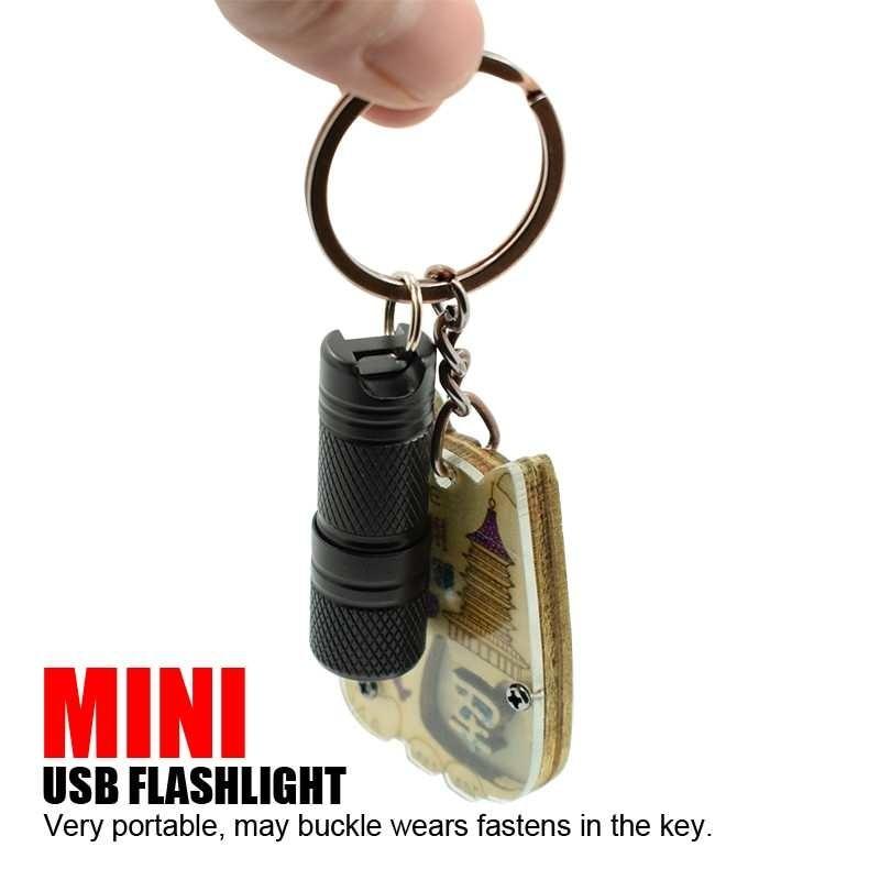 Portable Mini Pocket Led Pocket lamp Usb Chargeable Waterproof White Light Key pendant Super Small Lantern + 10180 Battery enlarge
