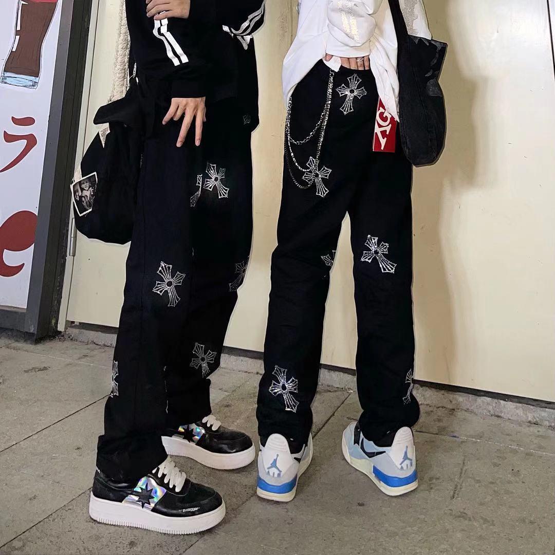 Стразы перекрестные Джинсы женские уличные женские и мужские модные брендовые хип-хоп Красивые прямые свободные широкие брюки черного цве... красивые прямые диваны