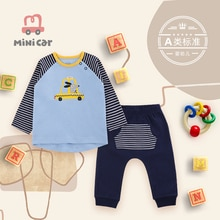 Boy's suit boy baby spring and autumn cotton clothes two piece suit long sleeve T-shirt + trousers