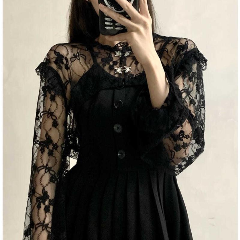 HOUZHOU Vintage Sexy Black Dress Gothic Dark Harajuku Lace Mini Dress Slip Pleated Sundresses Women Summer Goth Streetwear