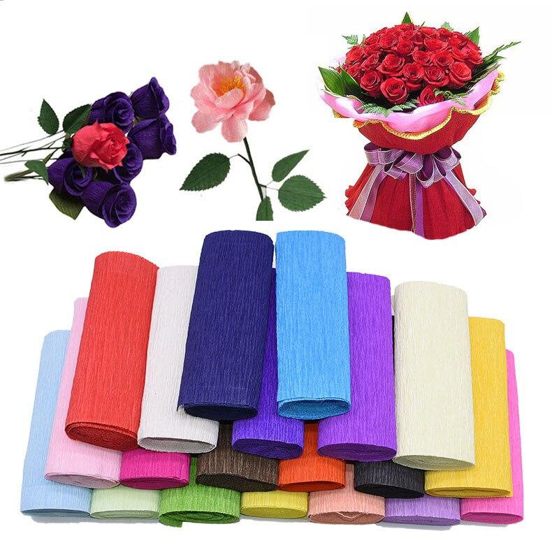 250*25cm 250*50cm 250*15cm 250*10cm rollo de papel crepé Origami papel crepé DIY flor regalo envoltura Scrapbooking Material