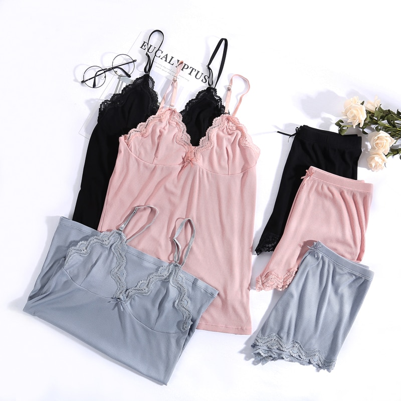Femmes pyjamas vêtements de nuit à col en v sexy ensemble Pijama chemise de nuit en soie dentelle homewear sangle sommeil salon Pyjama