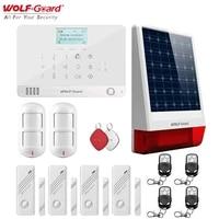 Wolf-Guard     systeme dalarme de securite domestique sans fil  controle GSM et application  cadran automatique  detecteur PIR  sirene solaire