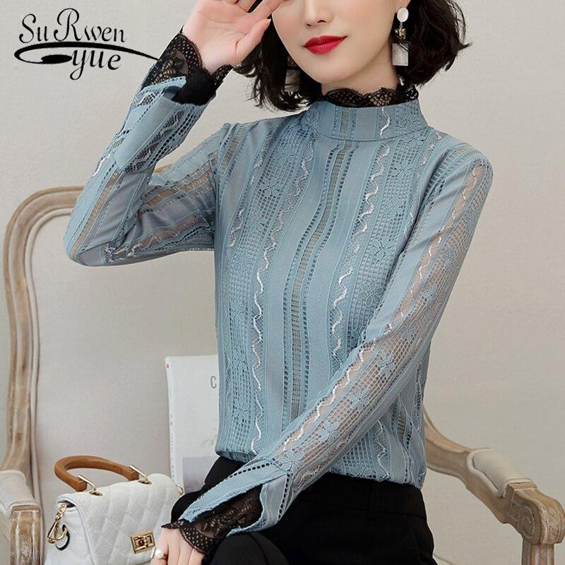 Женские рубашки, Однотонные блузки, женские кружевные рубашки с длинным рукавом, blusas mujer de moda, женские блузы elegantes 5430 50, 2019