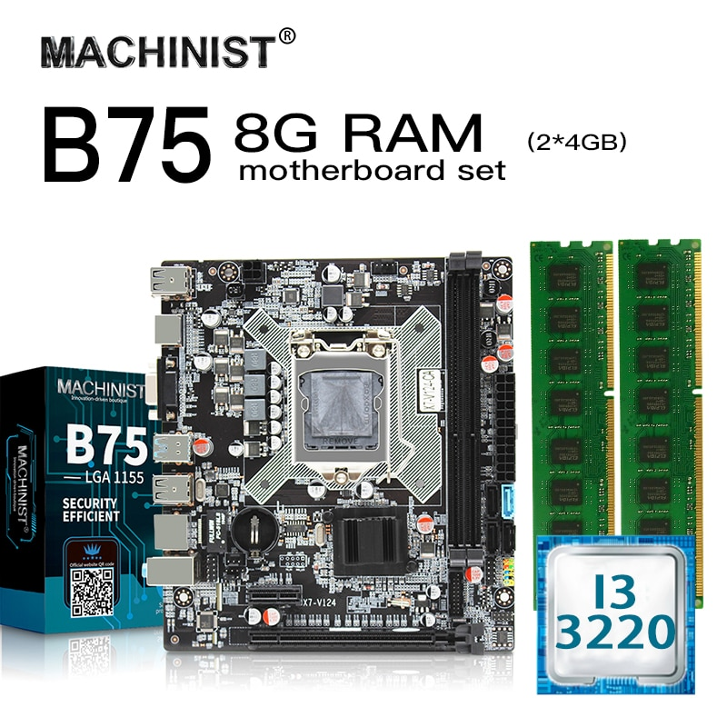 B75 LGA 1155 desktop motherboard set kit With Intel I3 3220 LGA1155 CPU 8G(2*4G) DDR3 RAM M-ATX Integrated Graphics Mainboard