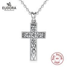 EUDORA Unique 925 Sterling Silver Cross Pendant Celtics Knot Necklace Fashion Women Man Jewelry Cros