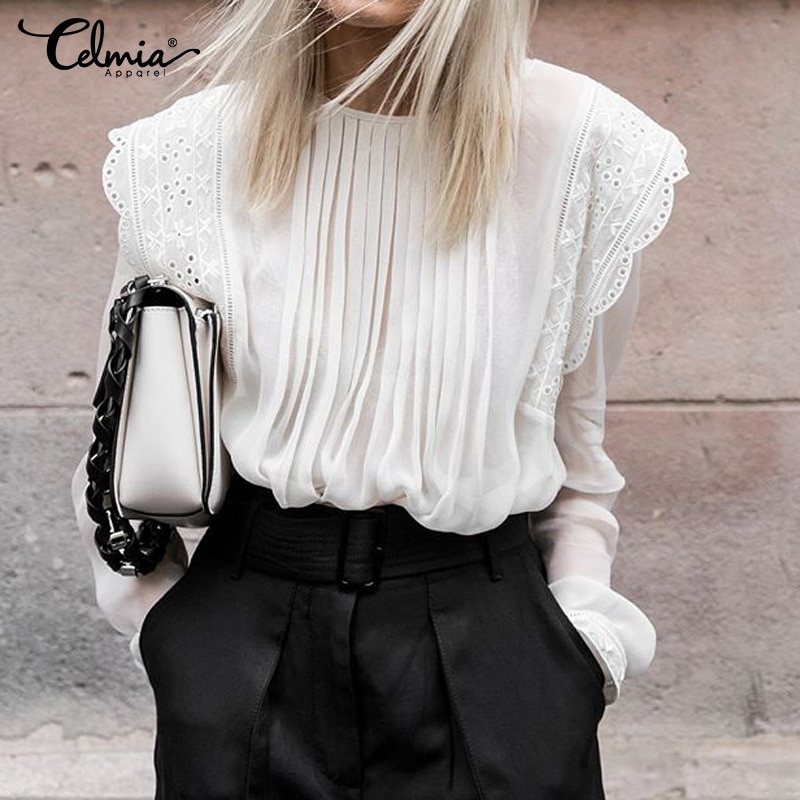 5XL Celmia blusas transparentes de mujer con volantes camisa de encaje bordado otoño 2020 elegante manga larga plisado Casual gasa Top 7