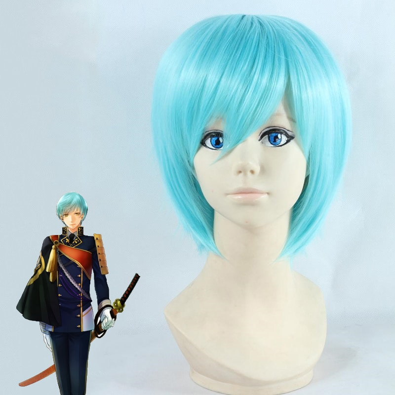 La espada Dance Touken Ranbu Ichigo Hitofuri Cosplay peluca completa verde corta mezcla recta pelucas de pelo sintético