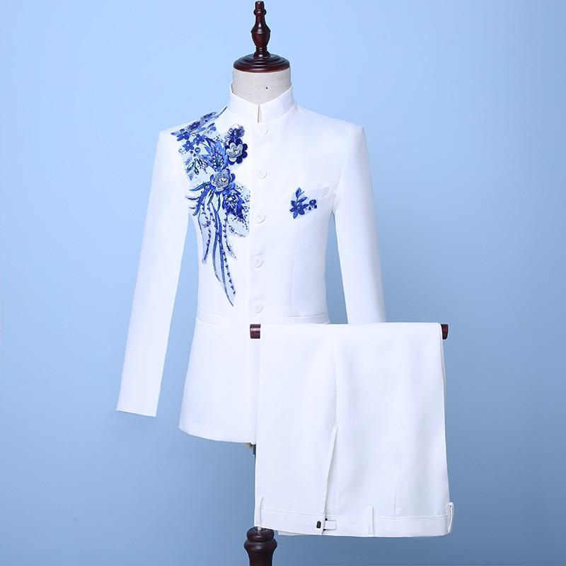 الخريف النمط الصيني الأبيض الوقوف طوق قطعتين الرجال سترة الدعاوى الأزرق الترتر العريس دعوى ازياء (سترة السراويل)