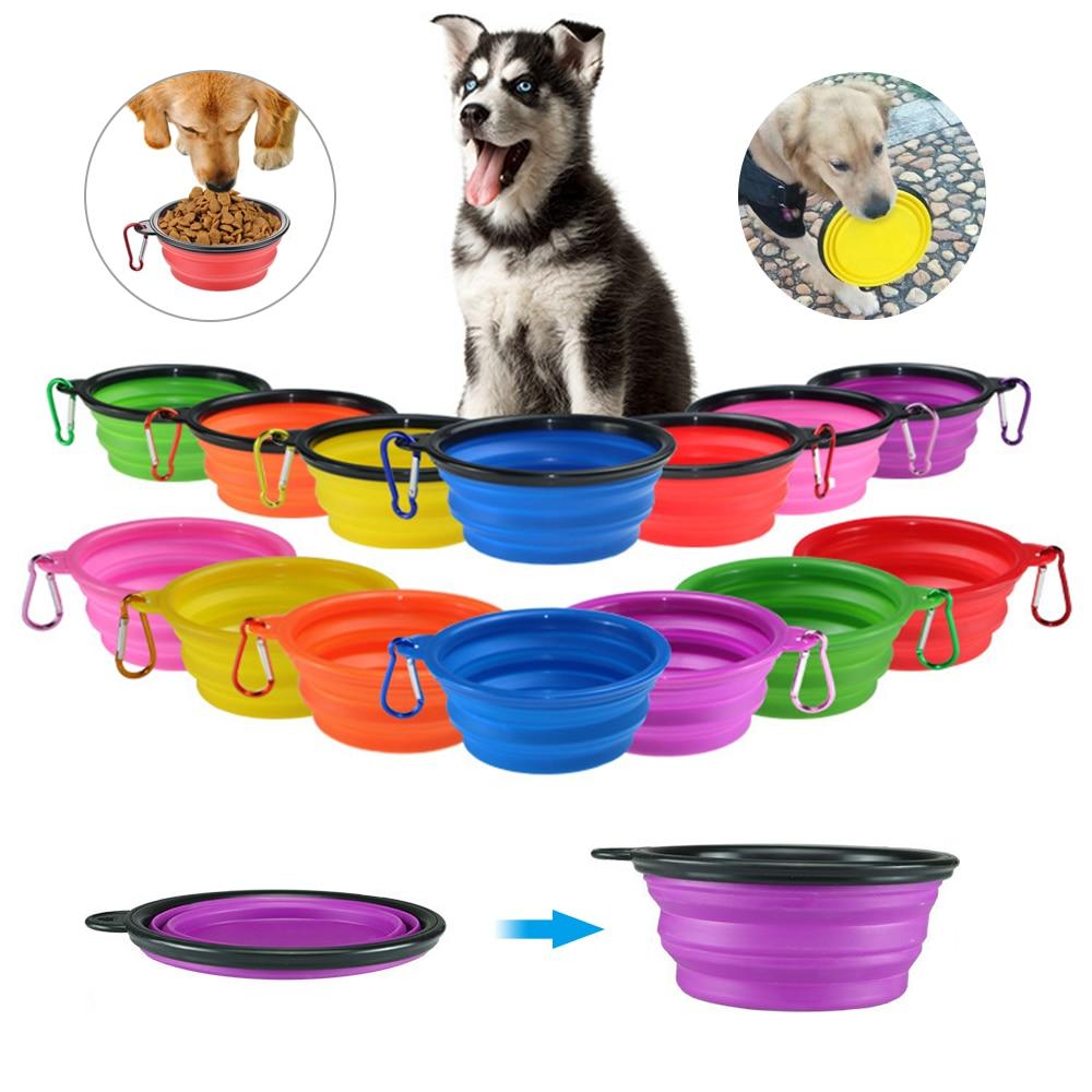 개 여행 실리콘 그릇 휴대용 접이식 접이식 애완 동물 고양이 개 사료 물 먹이 여행 야외 그릇 애완 동물 액세서리