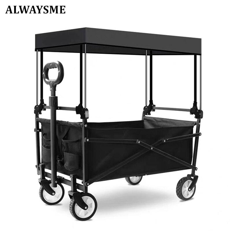 Alwaysme carrinho de bagagem dobrável, carrinho para viagem e compras, utilitário dobrável para o ar livre