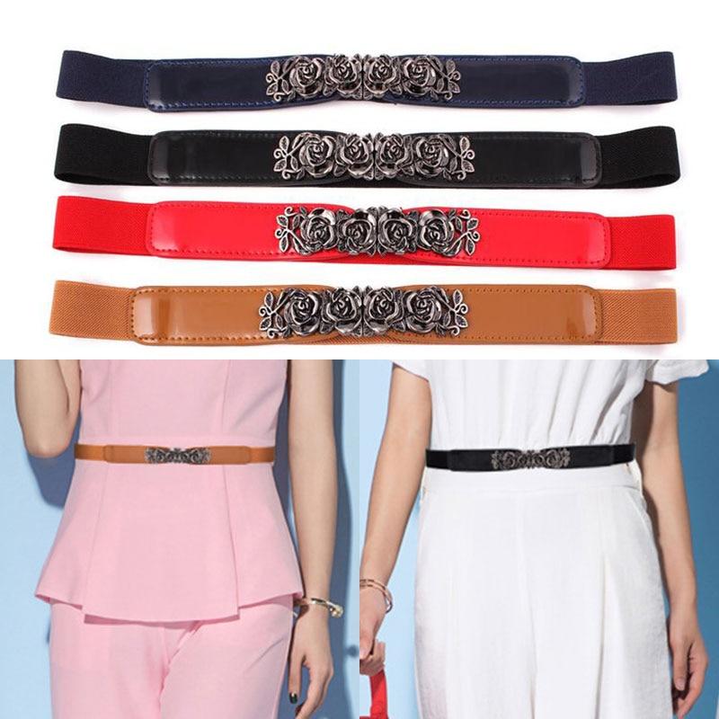 2021 Fashion Women Belt Gold Buckle Women Dress Black Belt Elastic Waistband Elegant Cummerbunds for