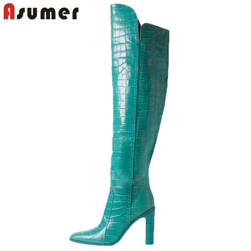 ASUMER 2021 حجم كبير 45 فوق الركبة أحذية النساء جولة تو البريدي سوبر عالية الكعب أحذية الحفلات الليلية نادي السيدات الفخذ أحذية عالية