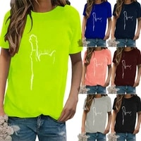 plus size women cat print short sleeve t shirt ladies casual loose crew neck top