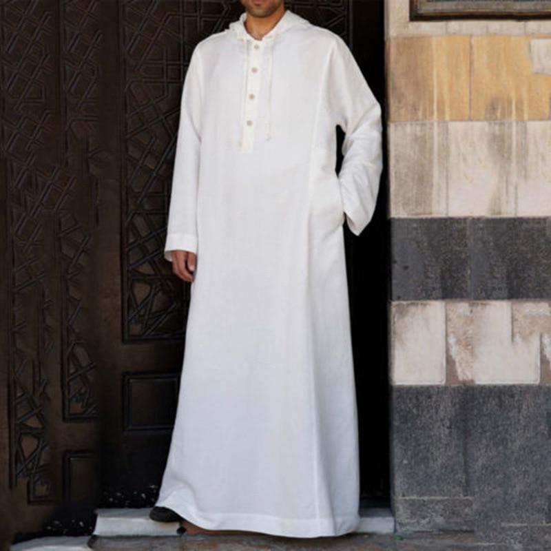 Muslim Men Arabic Style Simple Long Men's Long-sleeved Solid Color Breathable Robe Muslim, Saudi Arabia, Dubai Men's Robe  S-5XL