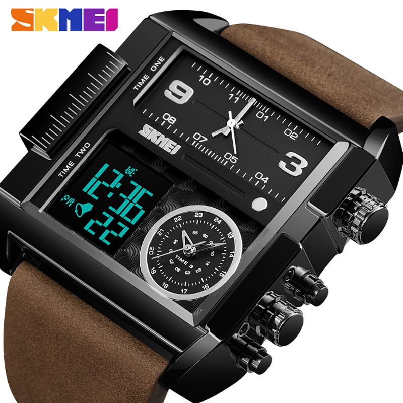 SKMEI Luxury Top Men Quartz Analog Digital Sports Watches Fashion Military black Watch Men's Waterproof Clock relogio masculino