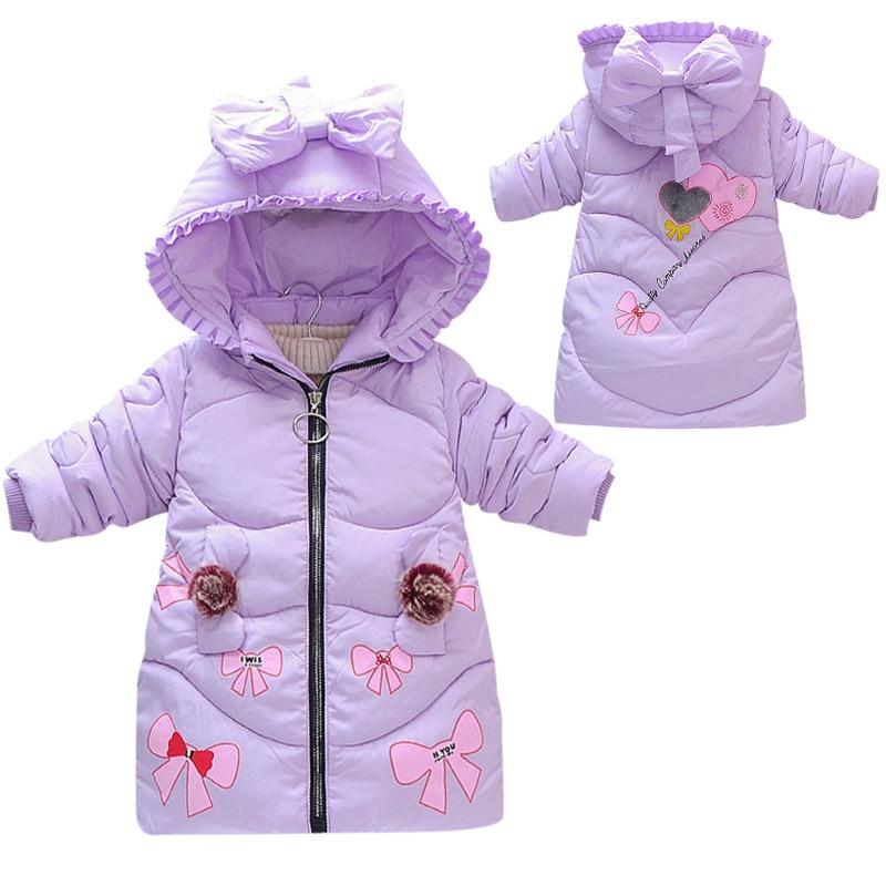 Fashion Autumn Winter Children Girl Jacket Warm Cotton Kids Coat Bow Sweet Printing Girls Cotton 2-6 years old Children Clothes