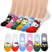 ถุงเท้าผู้หญิงขนาดเล็กสัตว์การ์ตูนแมวรูปแบบเรือถุงเท้าฤดูร้อน Breathable Casual Kawaii น่ารักตลกแฟชั่น ...