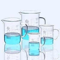 lab high borosilicate glassglass beaker with handle scale measuring cup laboratory equipment