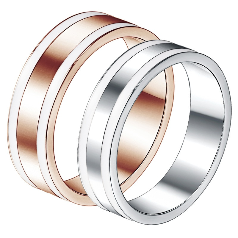 Fashion titanium steel men and women couple silver rose gold Crystal from Bulgaria versatile rose Punk hoe pilot DW ring