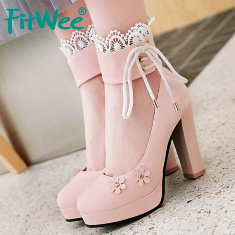 Zapatos de tacón alto FITWEE para mujer, zapatos de tacón alto con tiras cruzadas y flores, zapatos de tacón alto para fiestas, bodas, Kawaii, tallas 33-43
